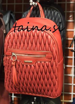 Рюкзак красный david jones 6152-4t red городской стеганый