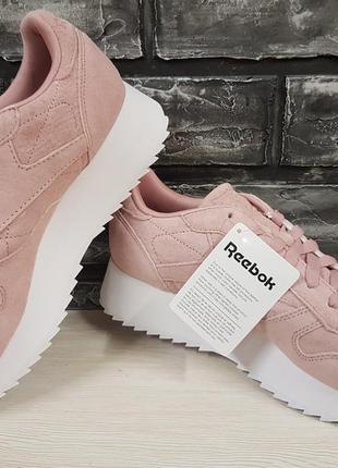 Замшевые кроссовки на платформе reebok. оригинал
