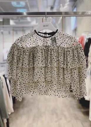 Ексклюзивна блуза-сіточка в горошок, укорочена блуза, топ