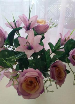 Искусственные цветы, букет розы + лилии