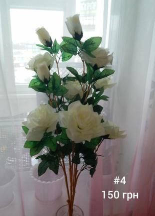 Искусственные цветы, букет розы белые