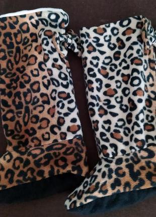 Домашние сапожки сапоги тапочки леопардовые с бантиками угги 3...