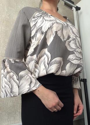 Блуза в полоску/цветочный принт с v-вырезом soon/р.16