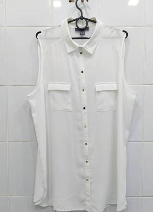 Актуальная шифоновая блуза без рукавов