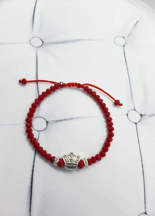 Браслет красная нить корона