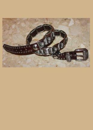 Крутой стильный ремень металл кожа, от nanni (создатель versac...
