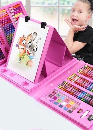 Набор художника для рисования с мольбертом 208 предметов в кейсе