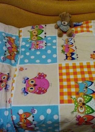 Детский постельный комплект с совушками
