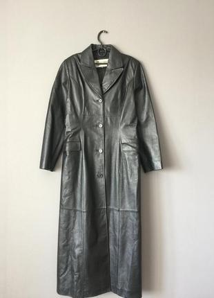 Винтажный длинный кожаный плащ gapelle 12--46 размер.