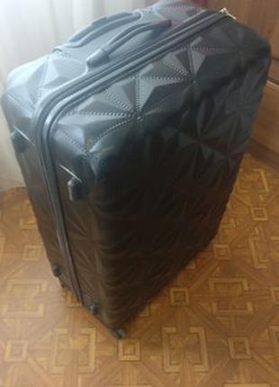 52х30х78 большой черный чемодан на 4 колесах, твёрдый