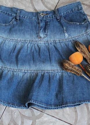 Джинсовая юбка с рваными элементами influence размер м