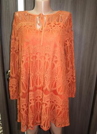 Кружевное платье - туника green boohoo в идеальном состоянии l