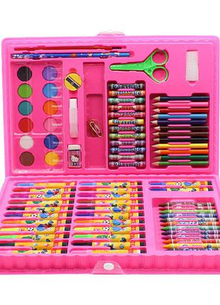 Компактный детский набор для рисования 86 предметов розовый цвет