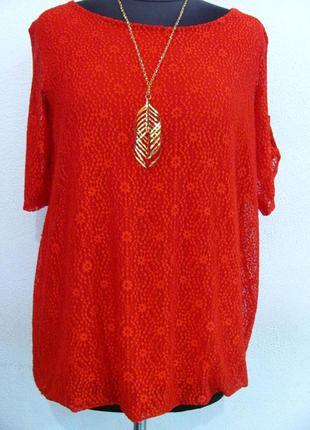 Нарядная блуза из ткани трикотаж масло + эластан и кружево (ит...