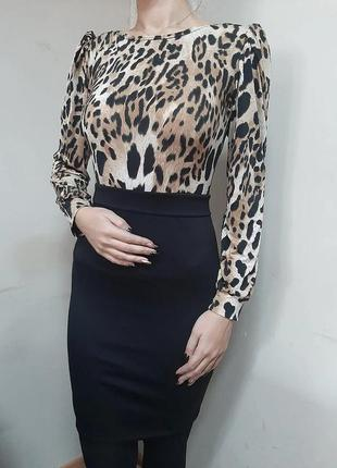 Платье футляр с принтом леопард