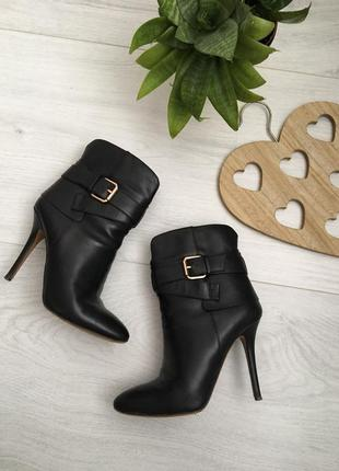Ботильоны, стильные кожаные ботинки высоком на каблуке, grado