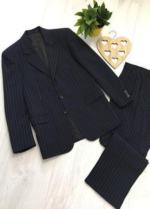 Мужской деловой классический костюм, в полоску, m-l