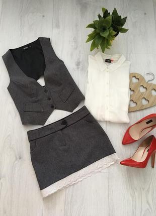Стильный молодежный деловой костюм юбка и жилетка