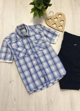 Рубашка с коротким рукавом, летняя молодёжная тенниска, клетка
