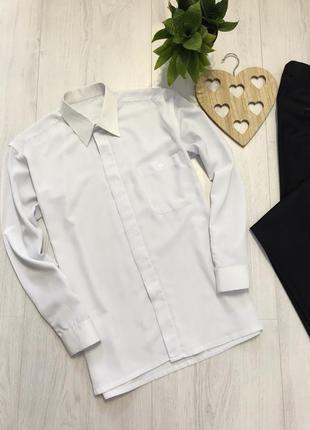 Мужская белая рубашка с длинным рукавом