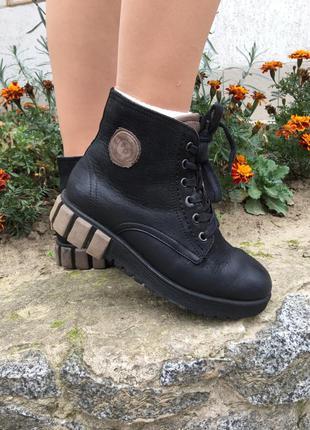 Модные зимние ботинки, натуральная кожа, мартинсы