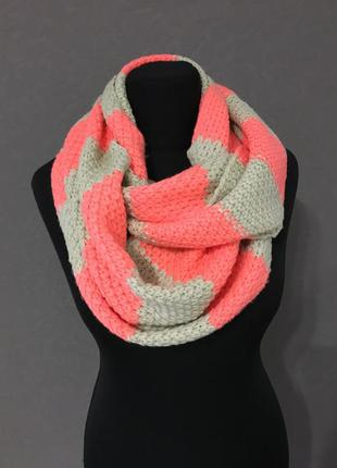 Яркий шарф хомут, снуд, полоска, теплый