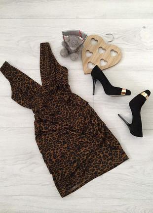 Платье молодёжное леопардовое, v-образный вырез