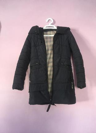 Стильная зимняя темно синяя куртка