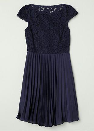 Изысканное нарядное платье кружево плиссировка h&m