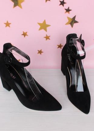 Черные туфли, лодочки 36, 38 размера с ремешком вокруг ноги