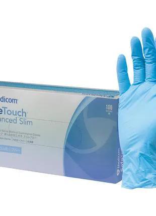 Перчатки нитриловые Medicom SafeTouch Advanced Slim Blue упаковка