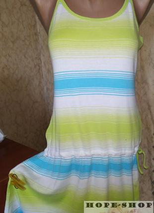 Симпатичное синее трикотажное платье ,сарафан для дома,пляжа 4...