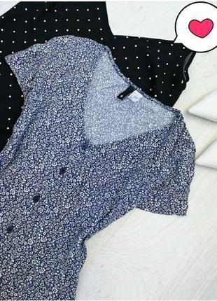 Милейшее трендовое чайное платье рубашка пуговицы  в цветочный...