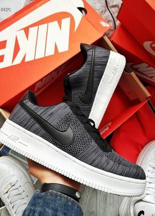 Nike air force ultra 1 flyknit low dark grey ♦ мужские кроссов...