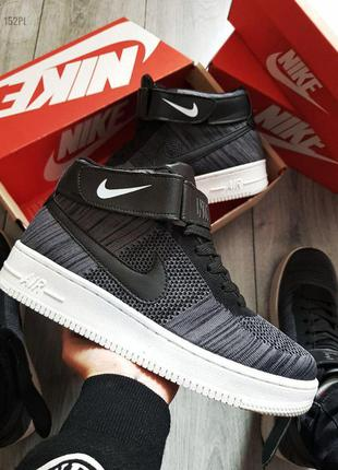 Nike air force ultra 1 flyknit hight dark grey ♦ мужские кросс...