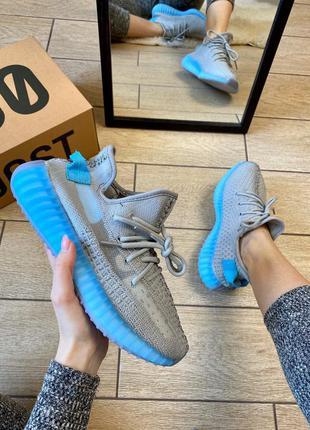 Adidas yeezy boost 350 v2  grey & blue 🔺женские кроссовки адид...