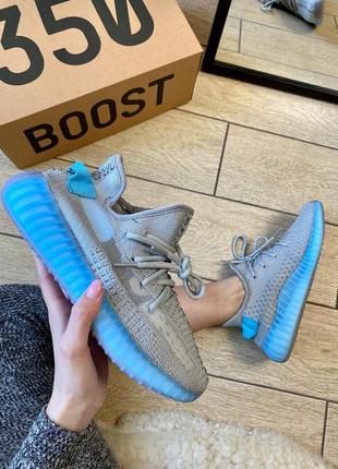 Adidas yeezy boost 350 v2 grey & blue кроссовки адидас изи сер...