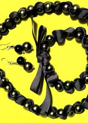 Шикарный жемчужный набор 3-в-1 ожерелье серьги браслет швеция ...