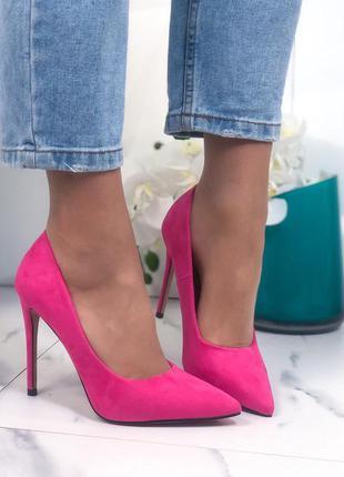 Яркие замшевые туфли лодочки на шпильке,замшевые туфли фуксия ...