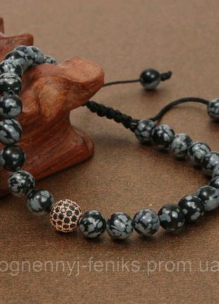 Индивидуальный браслет из камня Обсидиан (регулируемый)