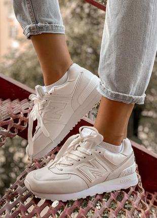 Женские кроссовки new balance 574 white белые