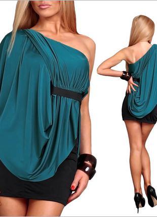 Двухцветное платье с оригинальной спинкой