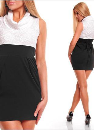 Черно-белое деловое платье
