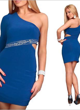 Синее платье с одним рукавом