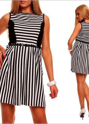 Черно - белое платье в полоску
