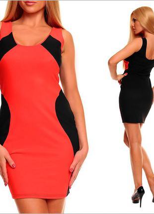 Черное платье с оранжевой вставкой