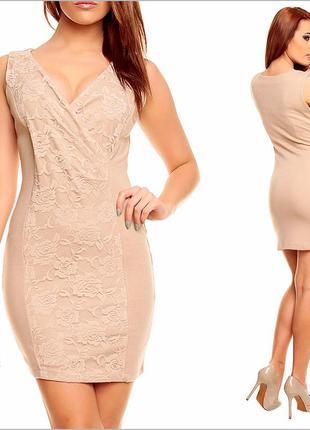 Бежевое платье с гипюром