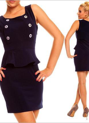 Темно-синее платье с баской