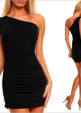 Платье на одно плечо черное