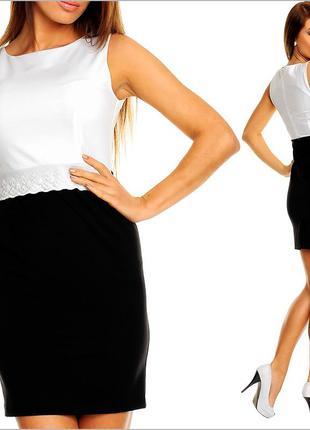 Черно-белое платье с кружевом